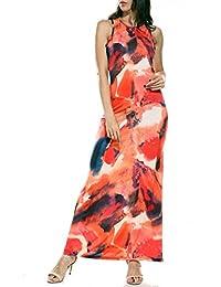 Kooosin 女士棉质 A 字夏季海滩无袖休闲弹性长裙,