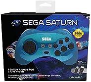 Retro-Bit Official SEGA Saturn 2.4Ghz Wireless Arcade Pad for MEGA DRIVE MINI CONSOLE, Sega Mega Drive Console