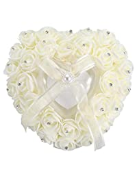浪漫心形婚戒盒玫瑰水钻装饰枕头环靠垫(米色)