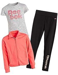 Reebok 锐步 女童运动服套装 T 恤、打底裤和针织夹克(3 件套)