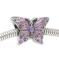 银色双面粉色和紫色蝴蝶 - 欧式大孔珠 (1)