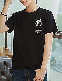 Goralon 男士短袖T恤简约男上衣 韩版印花T恤衫男半袖圆领修身体恤打底衫夏上衣潮t恤