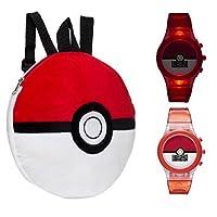 口袋妖怪6.35厘米精灵球背包和发光手表–儿童