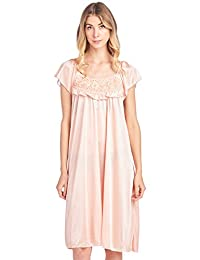 Casual Nights 女士盖袖花朵丝滑针织睡衣