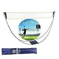 yti 便携式羽毛球网架安装简易运动网训练标准羽毛球网架便携式羽毛球网架套装轻便可折叠网架,无需工具或桩子