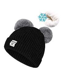 儿童帽帽子,男婴冬季保暖针织帽时尚钩针无檐小便帽柔软羊毛内衬骷髅帽带婴儿床,0-5 岁