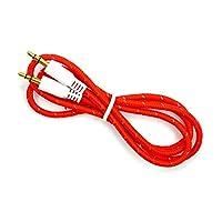 易科达 彩色编织AXU音频线 3.5立体声音频线 公对公音频线 aux data cable 车载音频连接线 (编织圆线, 红色)