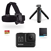 GoPro HERO8 黑色套装 - 包括短款、头带、备用电池和 32GB Micro SD