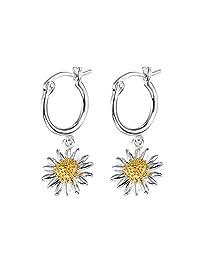 Daisy 英国品牌 优雅气质长款925银雏菊耳环耳饰耳坠女款复古个性花朵女10mm E2007
