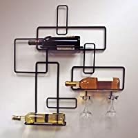 J&J Wire Contemporary Wine Bottle and Glass Holder