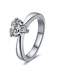 纯银 1 克拉 NSCD 仿钻心形戒指单粒钻石订婚女士专属