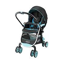 美国 Graco 葛莱 CITINEXT城市慧智系列 婴儿推车6BU98CDXN蓝色 (38CM超宽坐席设计,单手收合,多段背靠调节,万向轮锁,五点式安全带,配备置物篮,双天窗设计,遮阳篷可以阻隔UV)