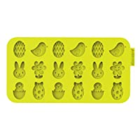 """SiliconeZone Chocochips Collection 8.9"""" Non-Stick Silicone Easter Chocolate Wafer Mold, Lime Green"""