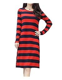 Teeuiear 女式条纹印花休闲宽松 T 恤束腰长袖派对连衣裙