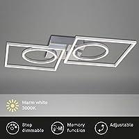 Briloner Leuchten - LED 吸顶灯,吸顶灯可调光,包括*功能,2 个 LED 模块可旋转(圆形和方形),43.8 瓦,3.600 流明,3,000 开尔文,铬铝,656x520x96 毫米(长 x 宽 x 高)