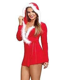 Dreamgirl Jersey 圣诞老人主题睡袍内衣 带Marabou 镶边帽子