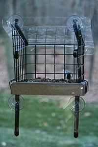 Birds Choice 可回收车窗安装平台喂食器,带笼和丙烯酸盖 小号 米色 WYF078277616730