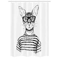 猫 stall 淋浴帘由 ambesonne 手绘打扮 hipster NEW AGE 猫时尚都市 FREE Spirit 艺术品印花装饰浴帘自带挂钩黑色白色