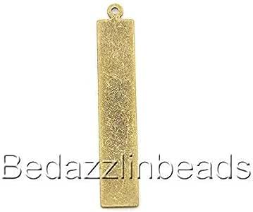 6 空白 41 毫米长扁平矩形吊坠 DIY 冲印或雕刻 复古青铜镀层 0752993876154