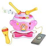 玩具鼓组合乐器适用于幼儿音乐玩具,带可调麦克风、鼓槌、音频线、8 个动态节奏等更多乐趣