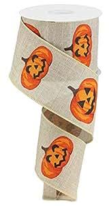 "Jack O Lantern Pumpkins 有线边缘丝带 2.5"" x 10码 天然 2.5"" x 10 yards (30 feet) RG0173118"