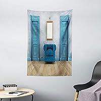 ambesonne 仿古装饰系列,复古火车沙龙 INSIDE 历史运输 Windows 带窗帘 ARCH 形状天花板图像,卧室客厅宿舍壁挂挂毯,象牙色