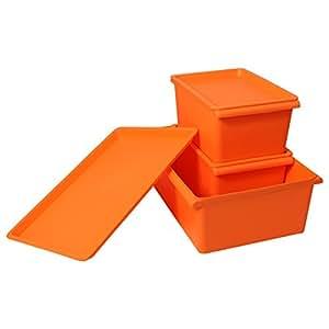 优雅100 韩式炫彩有盖收纳盒塑料3件套(1中2小) 橙色