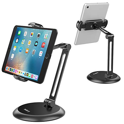 Nulaxy 平板电脑支架,可调节平板电脑支架,带重底座和双层金属臂,桌面支架,适用于 4-11 英寸手机、平板电脑、iPad、任天堂开关、Surface Go、Kindle