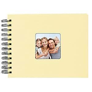 Goldbuch 螺旋相册 带图片剪切 活跃 黑色页面 高品质亚麻外观 米色 24x17 cm 20 095