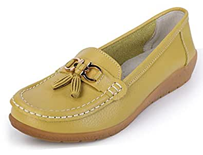 labato 女士皮革休闲乐福鞋一脚蹬休闲平底鞋 Picture Color-2 8.5 M US