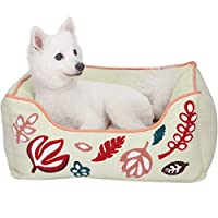 """Blueberry Pet Heavy Duty Pet Bed or Bed Cover, Removable & Washable Cover w/YKK Zippers, Shop a Whole Bed with Cover for Change Canvas Bed - Pink & Beige Leaves Whole Bed Size 25"""" x 21"""" x 10"""""""