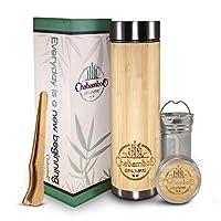 CHABAMBOO 竹制玻璃杯带冲茶器和滤网| 17盎司(约427毫升)咖啡和茶瓶| 真空绝缘旅行茶杯| 茶保温瓶和茶礼品| 带散叶茶叶浸泡器和香薰器