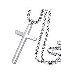 555Jewelry 不锈钢十字架项链男女通用,40.64-60.96cm 盒子链  银色