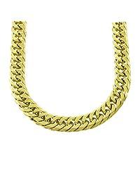 男式厚紧密连接黄色镀金迈阿密古巴链和手镯套装盒式锁 JayZ 21 毫米