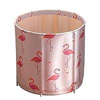独立式浴缸便携式塑料浴缸折叠水疗浴缸,适合成人,小型浴室,家庭浸泡加厚泡沫,保持温度儿童户外(火烈鸟)