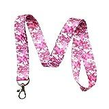 数码迷彩印花挂绳钥匙链 ID 徽章夹 粉红色