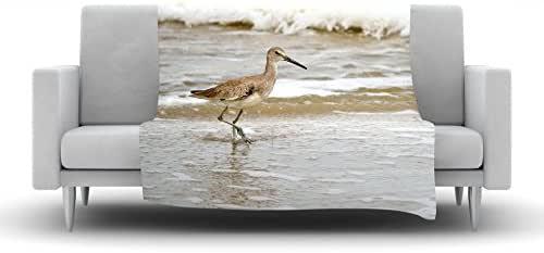 "Kess InHouse Robin Dickinson""Counting The Waves""羊毛毯,127 x 152.4 厘米,棕白色"