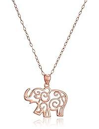 金纯银镂空大象吊坠项链,45.7cm  Rose Gold