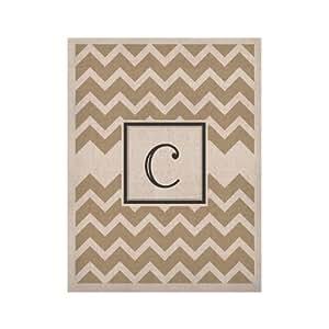 "Kess InHouse ""字母 C 交织字母 V 形棕褐色""天然画布,27.94 x 35.56 cm"
