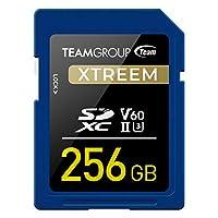 TEAMGROUP XTREEM 256GB UHS-II/U3 SDXC 内存卡 U3 V60 8K UHD 读取速度高达 250MB/s 适用于专业博客、电影制作人、摄影师和内容策划师 TXSDXC256GIIV6001