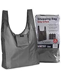 可重复使用的杂货购物袋 - 用这些大而坚固的环保袋替换纸和塑料袋。 折叠成自己的口袋后,袋子变成一个手提袋。 (灰色 - 6 件装)