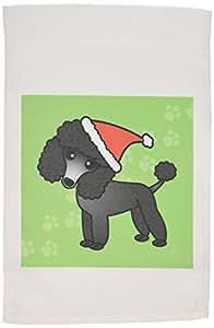 janna salak 设计狗–可爱黑色贵宾犬绿色爪子背景与圣诞老人帽子–旗帜 12 x 18 inch Garden Flag