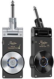 Rowin 2.4G 可充电吉他无线发射器接收器无线吉他系统,8 小时工作时间(银色和黑色插头)