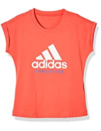 adidas Kids 阿迪达斯 女童 大童短袖上衣 CF6666 天然珊瑚粉 S18/白 YG SPORT ID TEE