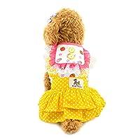 smalllee _ 幸运 _ Store 小号狗吉娃娃复活节连衣裙小狗波尔卡 Sweet 裙宠物服饰大号蓝色 黄色 XL