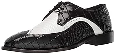 STACY ADAMS 男士 Trazino Croco-Lizard Print Wingtip 系带牛津鞋 黑色/白色 7.5 M US