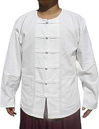 Raan Pah Muang RaanPahMuang 厚 Muang 棉青蛙纽扣圆泰领衬衫或夹克