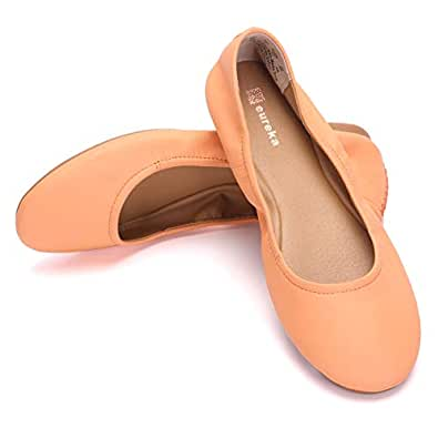 Eureka USA Audrey 女士皮革芭蕾平底鞋 119 Cantaloupe 6.5