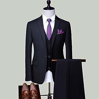 正品西服套装男新郎服装韩版男士结婚修身礼服西装男套装正装婚礼黑色单扣三件套(上衣+马甲+西裤) 5XL