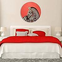 岸朵儿童房卧室床头画餐厅挂画壁画客厅沙发背景墙装饰画圆形无框斑马 (60 * 60CM)